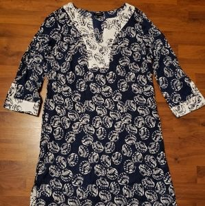 Talbots Navy and White Seashell Swimsuit Cover Up